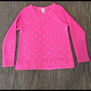 J Crew Crewcut Pink Cotton Terry Sequin Sweatshirt