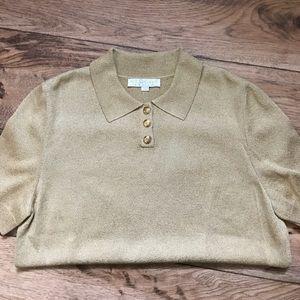 St. John Gold Metallic Knit Polo Shirt