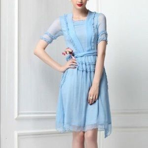 C'est Ca New York Dresses & Skirts - Veronica Ruffled Baby Blue Vintage Inspired Dress
