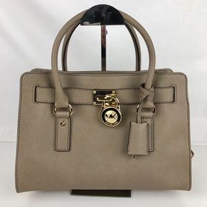 Michael Kors Handbags - Michael Kors Hamilton Leather Satchel - Dune