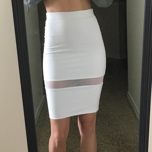23% off Zara Dresses & Skirts - NWT Zara White Mesh Pencil Skirt ...