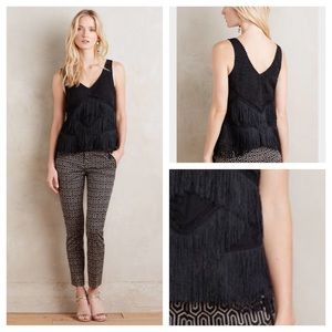 HD in Paris black tiered fringe shell top