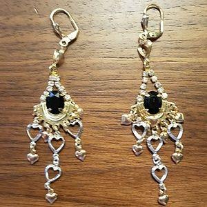 Gold & silver tone chandelier earrings