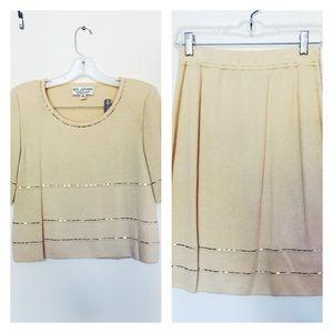 St. John Dresses & Skirts - St. John Knits Cream Two-Piece Skirt Set with Bead