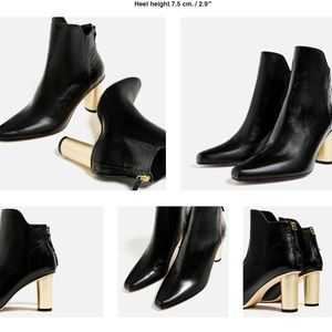 Zara Shoes - Zara high heel  leather ankle boot.. size 5 ..New!