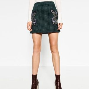 Zara Dresses & Skirts - NWT Zara Printed Leather A-line Skirt Green Small