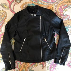 New Look Jackets & Blazers - ASOS New Look Faux Leather Pleather Biker Jacket 6
