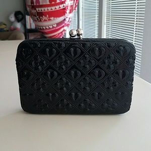 Handbags - Cute Little Black Clutch with Silver Hardware