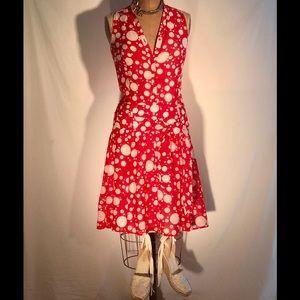 Zara cotton/silk tomato /white dot dropwaist dress