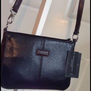 Tignanello Handbags - Tignanello Black/Brown Leather Cross-body, NWT