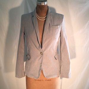 Zara blue & white pinstripe blazer w/gold buttons