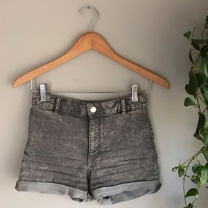 Divided Pants - stretchy high waisted gray denim shorts