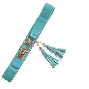 Accessories - DF Aqua & Gold Omega Tassel Leather Stretch Belt