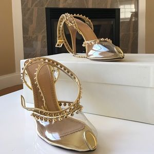 Charlotte Olympia Shoes - BNIB CHARLOTTE OLYMPIA Gold Studded Sandals Sz 41