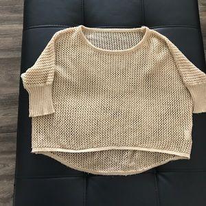 Nude mesh crop top