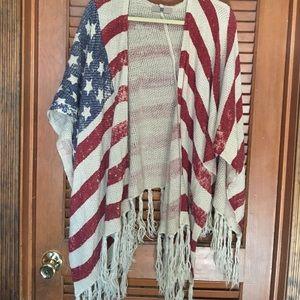 Buckle Sweaters - American Flag shawl