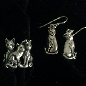 Sterling Silver Cat Ring and Earrings