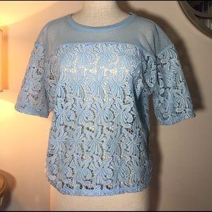 Ann Taylor Loft baby blue lace top size M