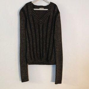 Miu Miu Sweaters - Miu Miu Brn Gold Metallic Wool Cashmere Sweater