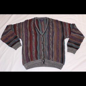 Roundtree & Yorke Other - Vintage 3D textured striped Cardigan sz L