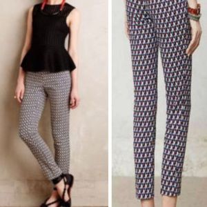 Anthropologie Cartonnier geometric ankle pants