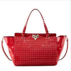 Valentino Garavani Handbags - 💯 Authentic Valentino Rockstud Rouge Patent Tote