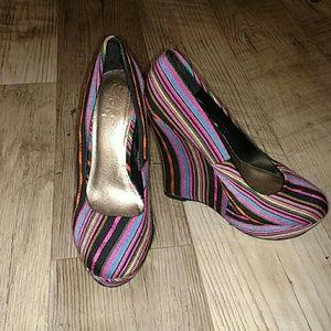 Yoki Shoes - Multi color strip heels