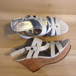 Guess Shoes - Guess wedge sandals! White leather with buckle🌼