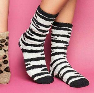 Plush Zebra Print socks