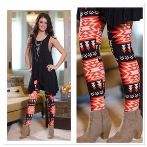 Infinity Raine Pants - ✨2 for 35 sale✨Coral/black Aztec print leggings OS