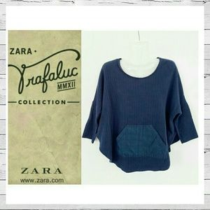 Zara Trafaluc Sleeved Cape Sweater Top Sz S
