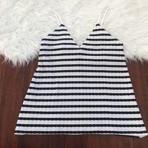 Zara Trafaluc White Striped V Neck Flowy Tank Top