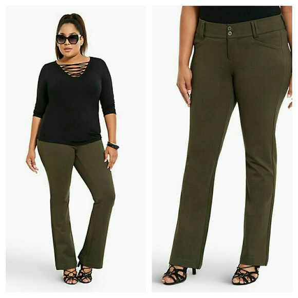 789d70ac60a Torrid Slim Boot Pant - Olive All-Nighter Ponte 18
