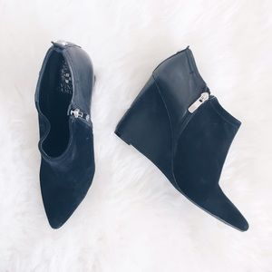 Vince Camuto Black Leather and Suede Booties