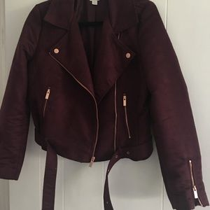 LC Lauren Conrad Faux Suede jacket in Wine