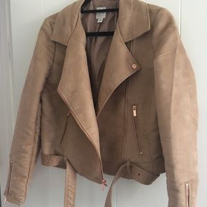 LC Lauren Conrad Faux Suede coat in Tan