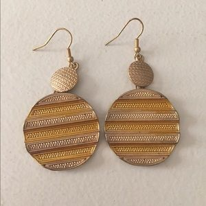 NWOT Aztec Style gold coin earrings