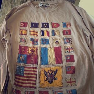 Wildfox Couture long sleeve Flag shirt small NEW