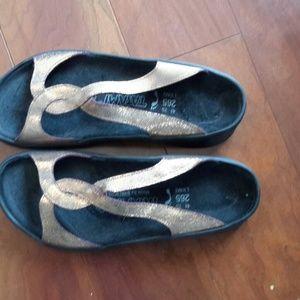 Birkenstock Shoes - Birkenstock Tatami Gold and Black Sandals, Size 10