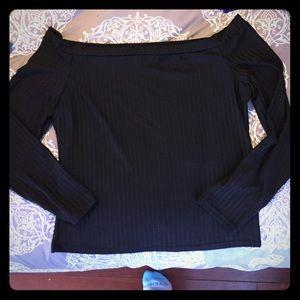 Off the shoulder black tight top