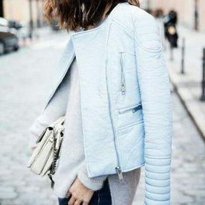 ZARA LIGHT BLUE FAUX LEATHER JACKET