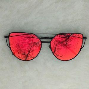 Red Mirror Lenses Cat Eye Sunglasses Black Frame