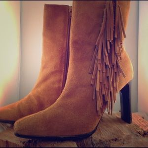 predictions Shoes - Great vintage suede fringe bootie