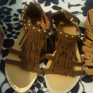 Shoedazzle Shoes - Fringe Gold Studded Gladiators