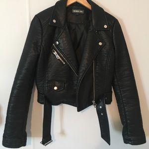 Vegan pebbled leather jacket