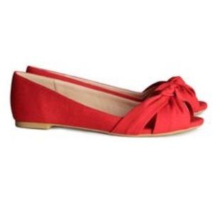 H&M Shoes - Red peep toe flats
