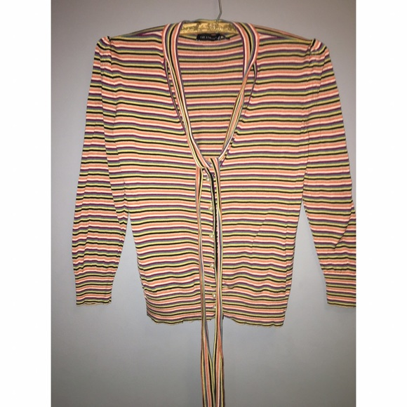 The Limited Sweaters - The Limited Striped Silk Cardigan Sz M