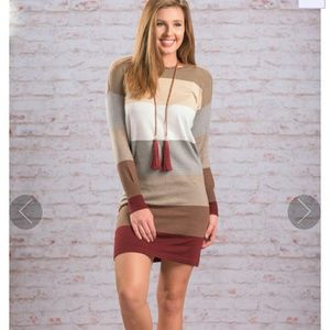 Dresses & Skirts - Burgundy, stripped sweater dress