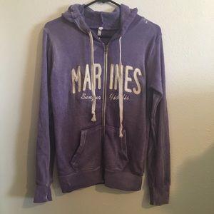 Tops - ◼️ 🛍 Distressed Purple wash Marines zip up hoodie