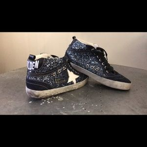 Golden Goose Shoes - Navy Suede and Glitter Golden Goose Midstars.